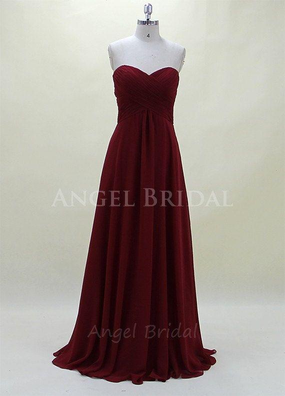 Dark Red bridesmaid DressChiffon Bridesmaid Dress by AngelBridal, $109.00