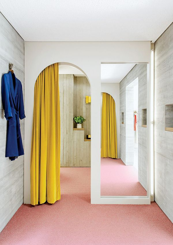 Velvet mustard yellow with pink underfoot and a shot of deep turquoisey-blue, all on a background of light gray. Love! This is the dressing room in the Rachel Comey flagship store. It's great to be inspired by boutiques.