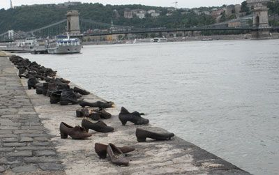 A memorial to holocaust victims along the Danube — Budapest.