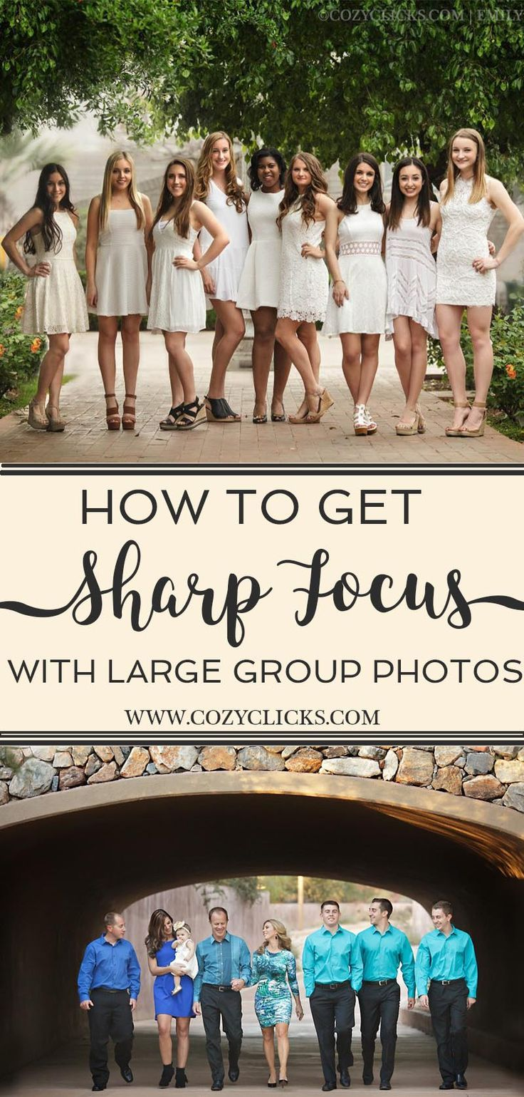 Easy ways to get sharp focus in your photos if you are working with larger groups. Follow these tips for clear, crisp photos that are in focus!