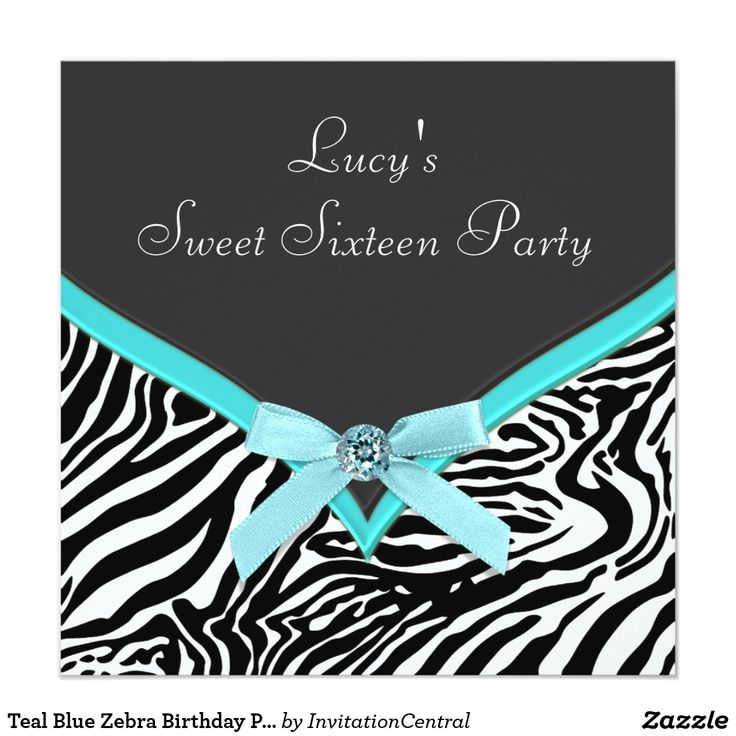 Teal Blue Zebra Birthday Party Card Elegant teal blue zebra birthday party invitation. This beautiful teal blue zebra birthday party invitation is easily customized for your event by adding your event details, font style, font size & color, and wording.
