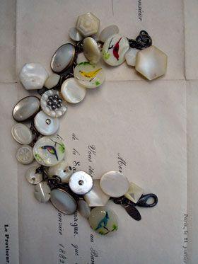 Mother of Pearl Bird Button Repurposed Bracelet