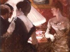 Giuseppe De Nittis,  Interno con abat-jour, 1883  Olio su tela, cm. 35x26  Piacenza, Galleria d'Arte Moderna Ricci Oddi