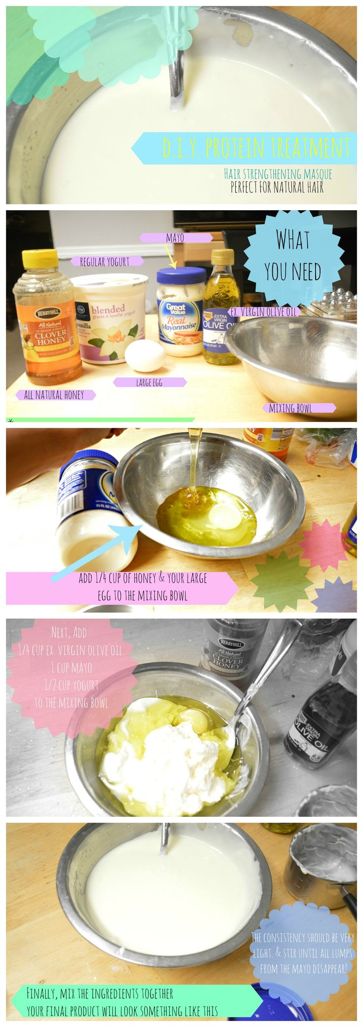 DIY, Homemade Natural Hair Protein Treatment Perfect for dry, brittle hair and those experiencing breakage. All ingredients used can most likely be found in your kitchen. More information at: http://naturallykoily.blogspot.com/2015/01/protein-treatments-are-often-used-to.html