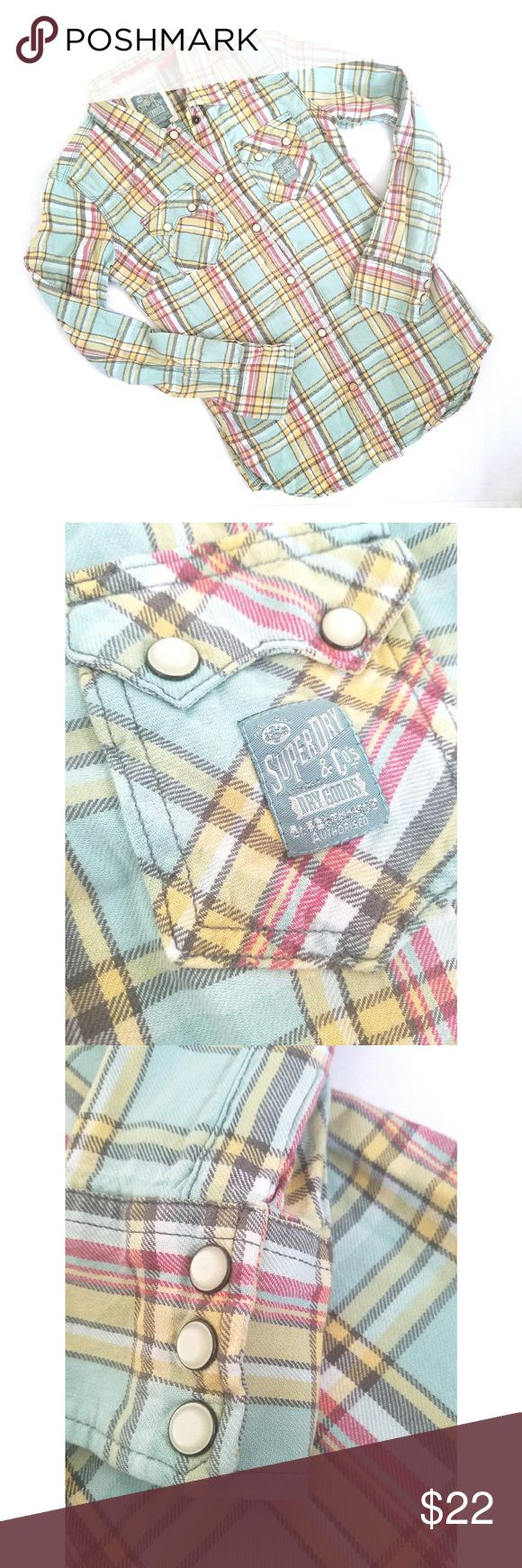 Superdry Pastel Blue Button Down Gorgeous colors (pastel blue, yellow, pink) button down by Superdry. Features snap buttons, chest pockets with snaps, and 3 button snap cuffs. Perfect condition.  Color closest to the close up pics. ❤ Superdry Tops Button Down Shirts
