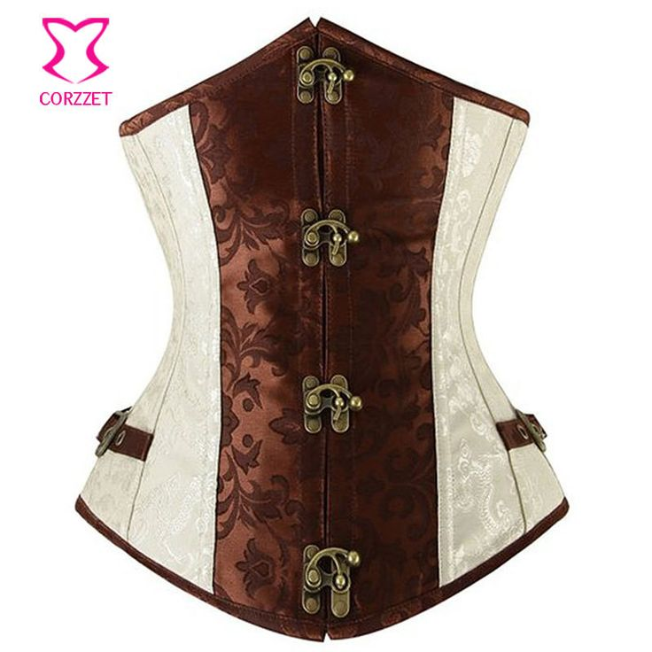 Brown Brocade Bustier Steampunk Corset Underbust Steel Boned Gothic Clothing Sexy Corsets and Bustiers Waist Corselet Korset