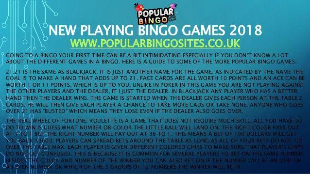 New playing bingo games 2018 - Lvcel.com