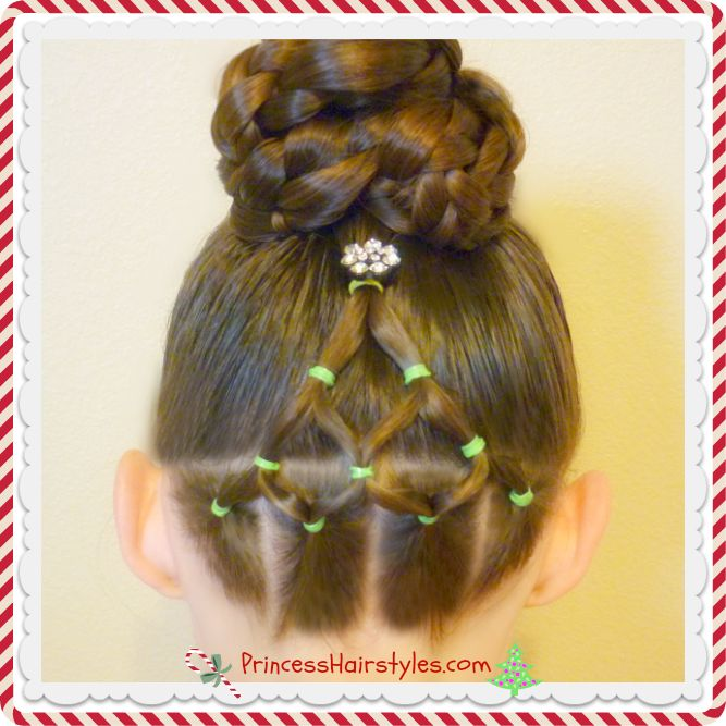 Elastic Christmas Tree Hairstyle and Bun Tutorial