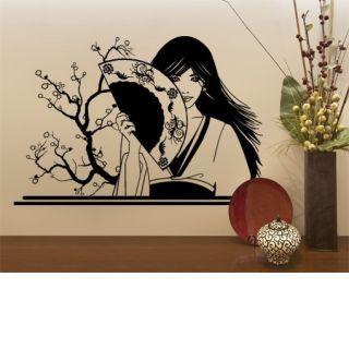 Наклейка по тематике от 2stick.ru Японская девушка с веером у сакуры