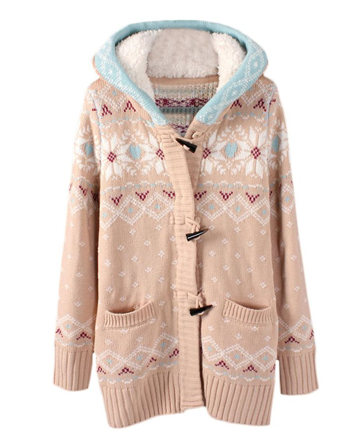 Geo-jacquard Md-long Cardigan With Fleece-lined Hood | BlackFive