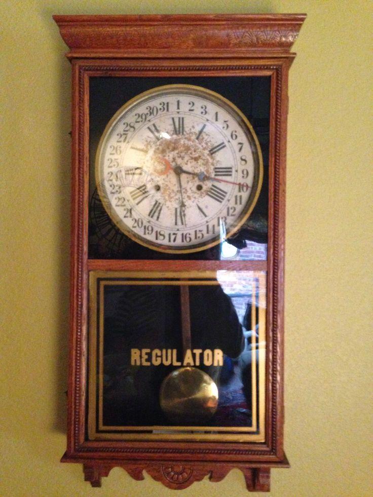 Oak Calendar Regulator Store Clock With 8 Day Movement And