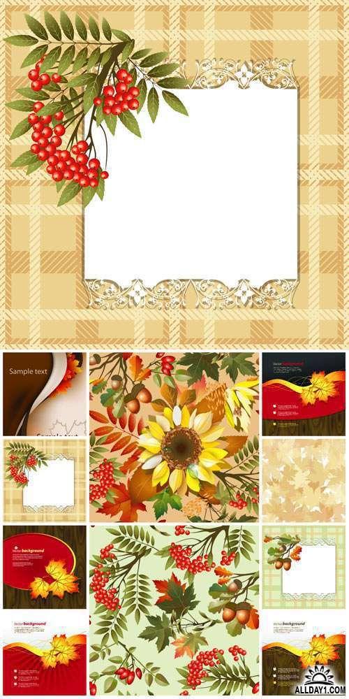 Осенний вектор, желтые листья, рябина, подсолнух / Autumn vector, yellow leaves, rowan, sunflower