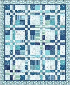 Moda Bake Shop: Landlocked Sea Lover's Quilt disappearing four patch