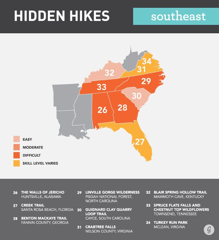 Hidden Hikes in the Southeast — need to try some of these while I'm in school on the East Coast :)