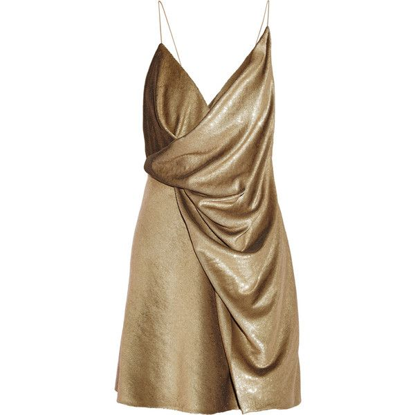 Saint Laurent Draped neck mini dress (36 395 PLN) ❤ liked on Polyvore featuring dresses, vestidos, gold, short gold dress, short dresses, gold dress, brown dress and yellow gold dress