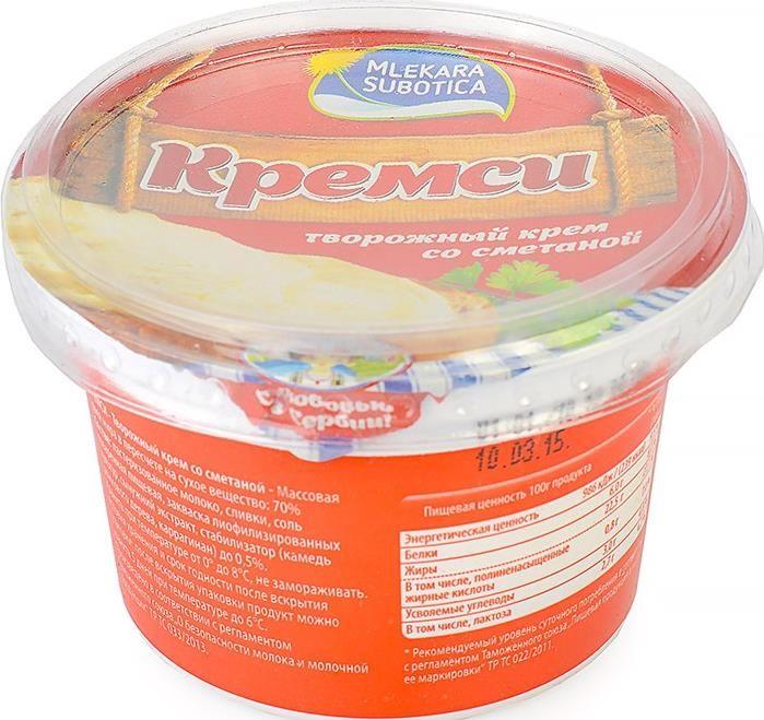 elicada crema de queso a base de queso natural con la adición de crema espesa, tiene un sabor cremoso suave con notas amargas refrescantes. Fácil untado en el pan y si se deshace en la boca!  Сыр Кремси творожный сметанный