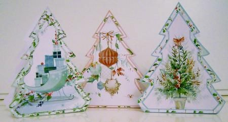 "You will receive 3 of these Christmas Tree shaped Favor Boxes along with Simple Crafting Directions. Each Favor takes one sheet of cardstock, scissors, and some glue to construct, and the finished Favor Box measures 4"" in height and 3"" in width. Use them as place cards on your Holiday table or as little Hostess Gifts, filled with your favorite sweets and treats. Enjoy!"
