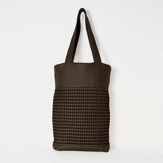 #Leather #grey_bag & #fabric_bag. Shopping by ElenaVandelliBags