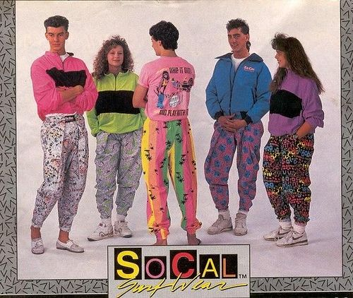 80s fashion trends when it became acceptable to style gym clothes for out of the house and the wind suits that follow with the synthetic fabrics