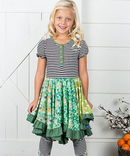 a2d92a2e8d3 Matilda Jane Clothing Green Floral Stripe Farmland A-Line Dress - Toddler    Girls