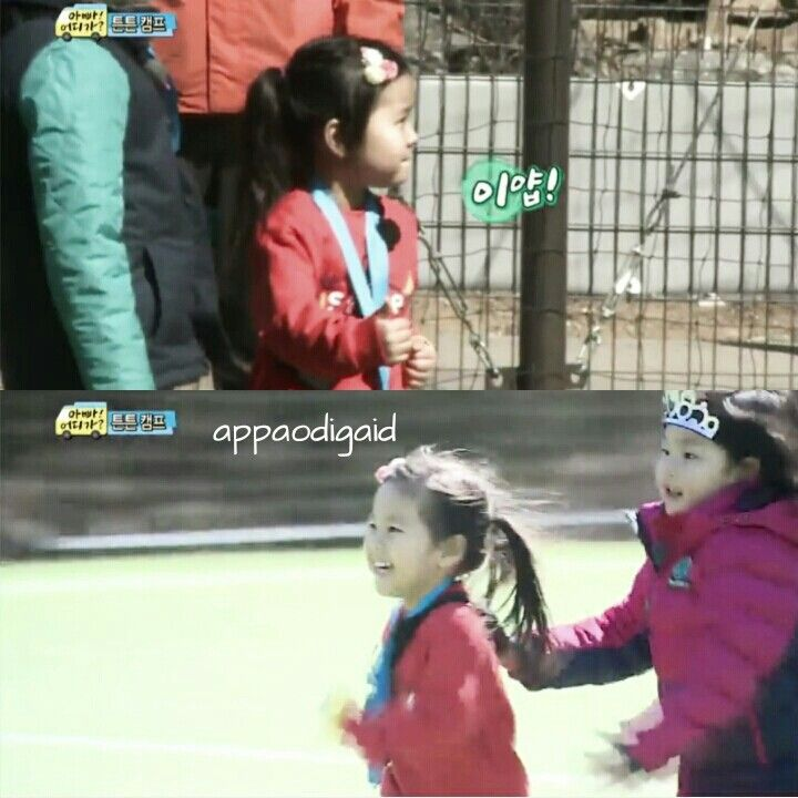 Bin run beside Gyuwon eventhough it's not her turn, she's taking care of Gyuwon :3