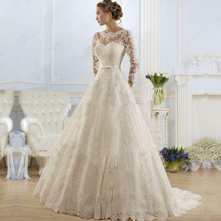 Vintage Lace Princess Wedding Dress 2016 Cheap A Line Wedding Dress  (sponsored) #laceweddingdress