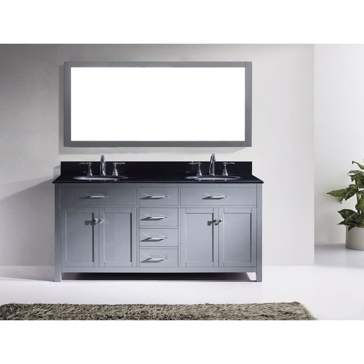Virtu USA Caroline 72-inch Double Bathroom Vanity Set With Black Granite  Top With Round