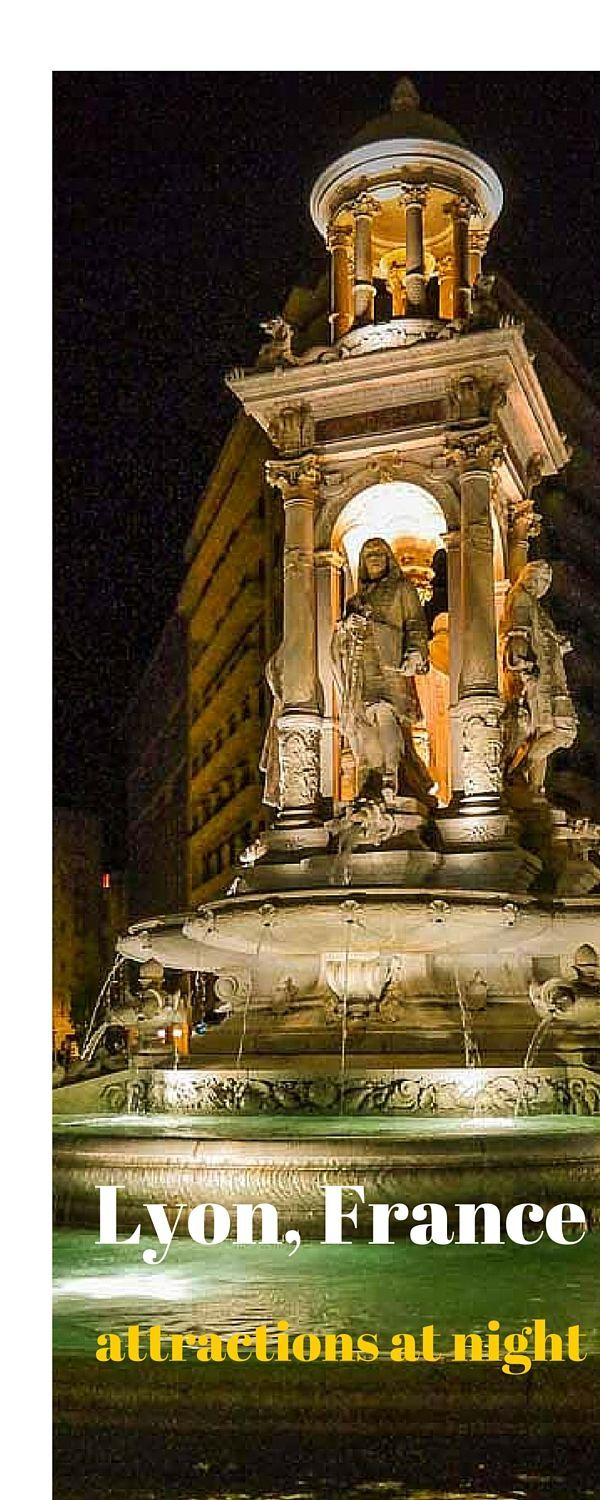 Lyon city at night time - a highlight tour of the main monuments, squares and attractions around Lyon at night time