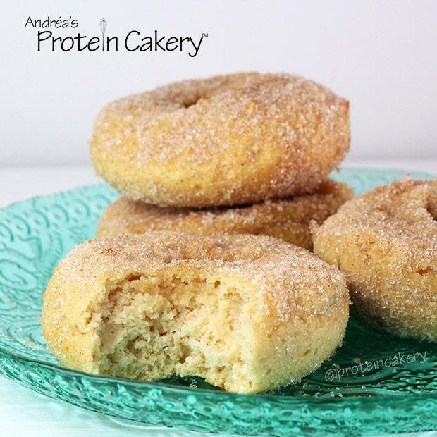 Cinnamon Sugar Protein Donuts - Makes 4 donuts - Each donut is: 166 calories. Fat: 4g, Carbs:15g (Fiber:5g), Protein: 17g