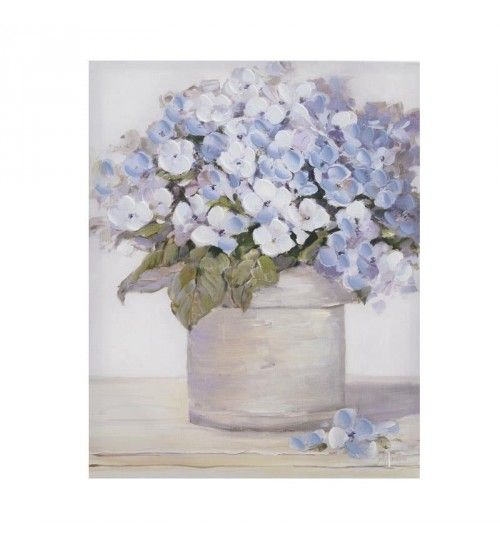 OIL WALL PAINTING CANVAS 'BLUE FLOWERS' 41X4X51