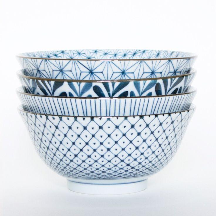 mix and match blue & white bowls