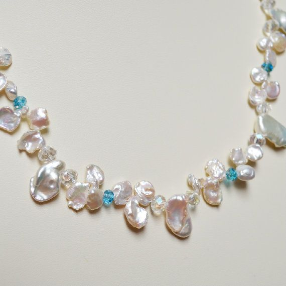 Pearl 2  Freshwater Pearl and Faceted Crystal by MissionBlueArts