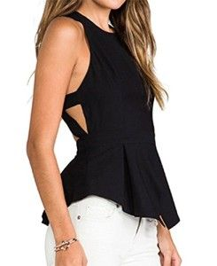 OURS Womens O-neck Backless Sexy Tank Top Vest Sleeveless Chiffon Blouse