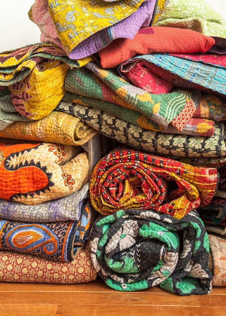 Kantha Quilted Throws- Similiar items In stock now at local shop Annex of paredown, in Ann arbor