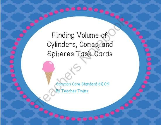 volume of cylinders cones and spheres task cards from teacher twins on. Black Bedroom Furniture Sets. Home Design Ideas