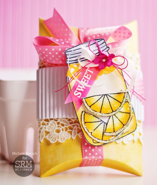 Sweet lemonade pillow box using stamp set from Janes Doodles and products from SRM Stickers