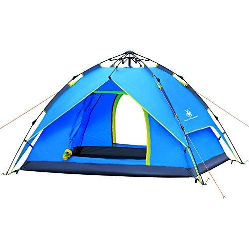 HUI LINGYANG Pop Up Outdoor Camping Instant Tent, Waterproof 4 Person Portable Camping Automatic Family Tent/Backpacking Tent With Carry Bag , Blue. For product & price info go to:  https://all4hiking.com/products/hui-lingyang-pop-up-outdoor-camping-instant-tent-waterproof-4-person-portable-camping-automatic-family-tent-backpacking-tent-with-carry-bag-blue/