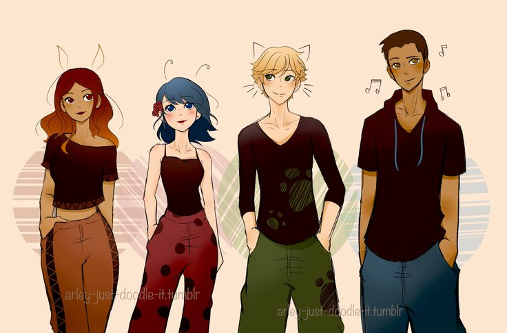 """thelastpilot: """"arley-just-doodle-it: """" So uh.. the plan was to just draw Marinette in some baggy sweatpants… Next thing I know, everyone is in sweatpants and I created an art dump.. Also, first..."""