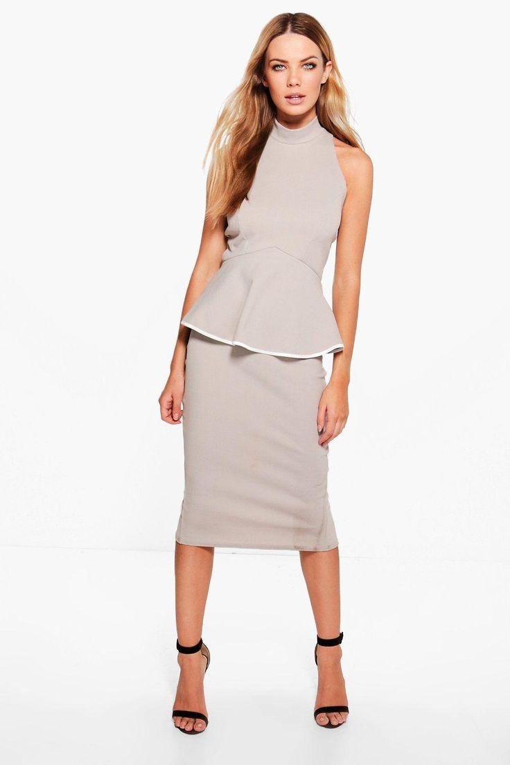 Ash High Neck Contrast Detail Peplum Midi Dress