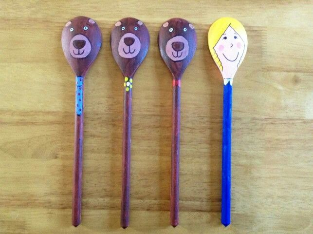 Spoon puppets Goldie Locks and the 3 Bears