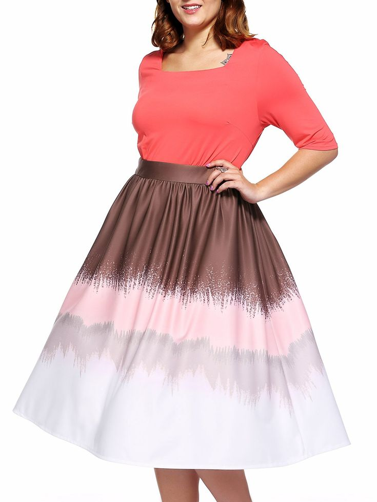 Fashionable Plus Size Square Neck Color Block Dress For Women