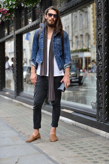 Total Hair Beard Fashion Men Denim Jeans Jacket Style Fashion Men Tumblr Style Streetstyle Scarf