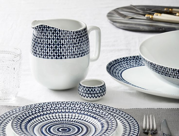 Bring something beautiful to the table everyday with our Messina porcelain tableware range. Inspired by Mediterranean design, the Messina range is beautifully patterned with a deep ink reactive glaze.  Dishwasher and microwave safe, the Messina range is