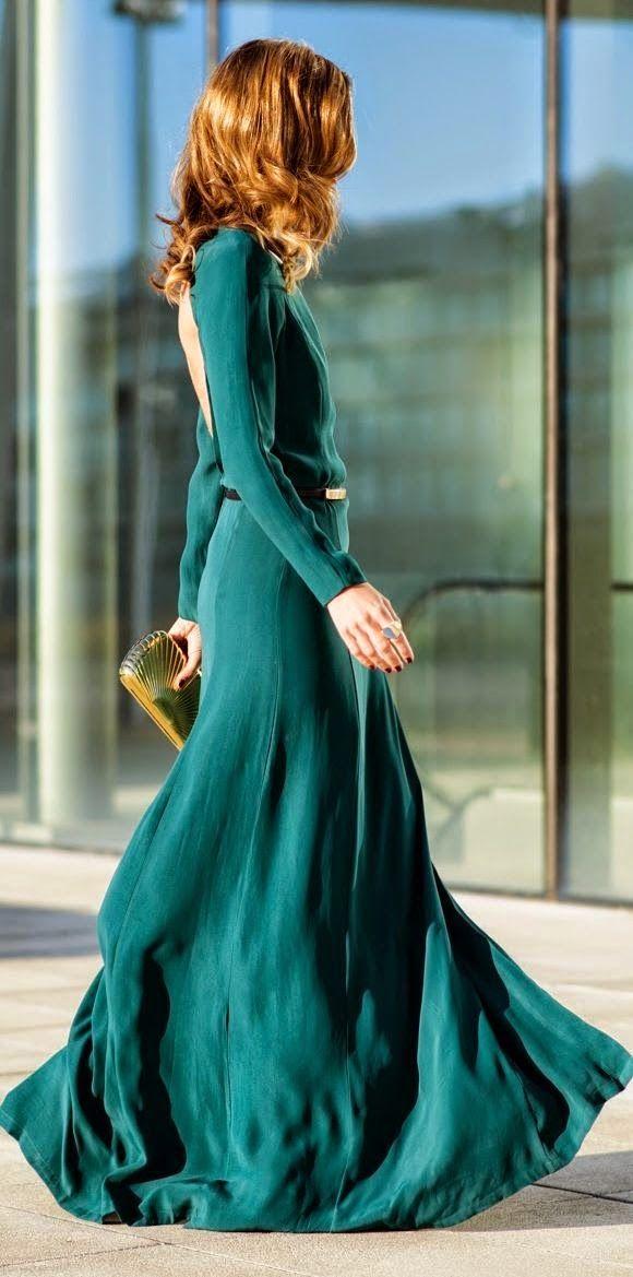 Green Open Back Gown 2015 by Ms Treinta                                                                                                                                                     Más