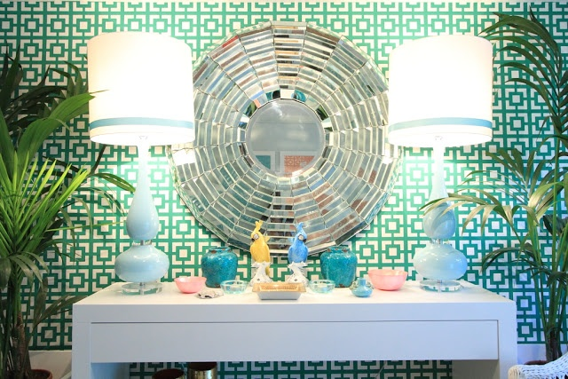 Palm Beach Styling, love the wallpaper in this entryway!