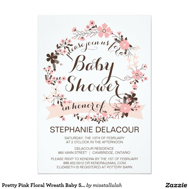 "Pretty Pink Floral Wreath Baby Shower Invitation 5"" X 7"" Invitation Card"