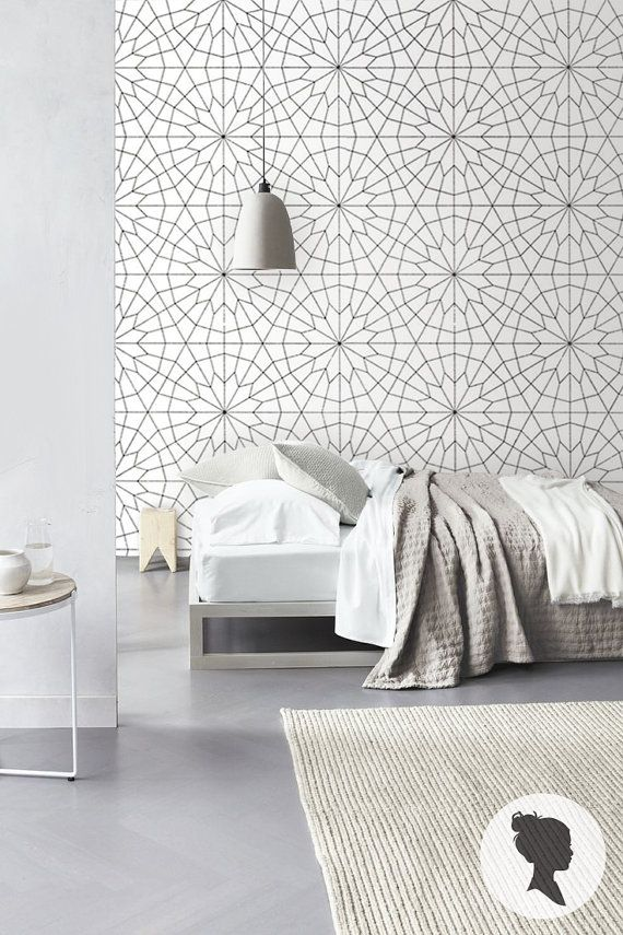 ETSY WALLPAPER -  Geometric Flower Pattern Self Adhesive  Wallpaper - Z011