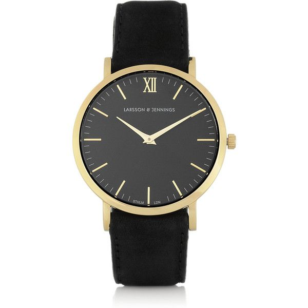 Larsson & Jennings Läder suede and gold-plated watch ($335) ❤ liked on Polyvore featuring jewelry, watches, accessories, bracelets, larsson & jennings, polish jewelry, water resistant watches, gold plated jewelry, gold plated jewellery and gold plated watches