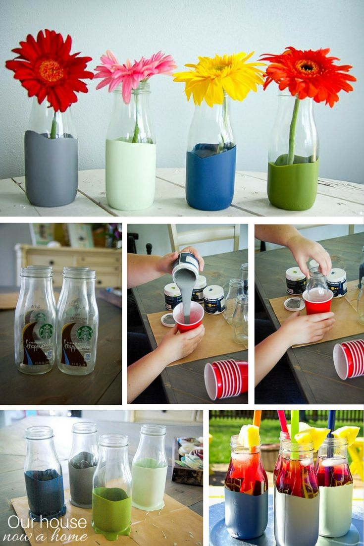 Don't throw away those glass coffee bottles. this is the easiest craft upcycle! Paint dipped glass coffee drink turned vase. Simple home decoration with pops of color! Use them as a flower vase or as cute cups when entertaining at your house.
