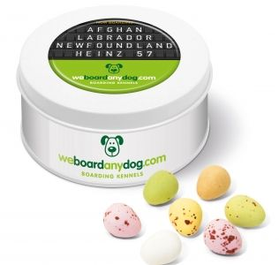 Promotional Easter Speckled Chocolate mini eggs presented in a treat tin